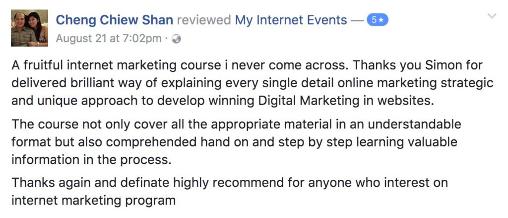 myinternetevents internet millionaire secrets 2017 student feedback cheng chiew shan